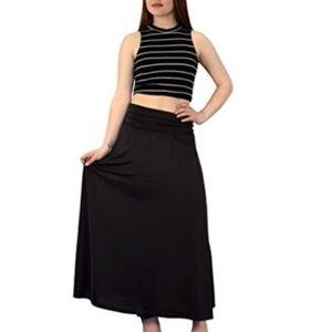 Jersey Foldover Waist Maxi Skirt